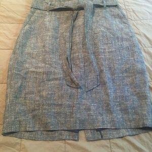 NWT Ann Taylor Chambray Paper Bag Waist Skirt 10p